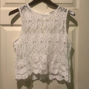 White lace tank top. Charlotte Russe. Size small